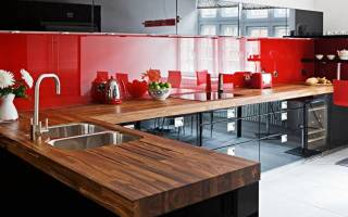 Красно-черные кухни фото