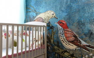 Обои с птицами в интерьере