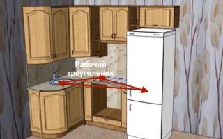Планировка кухни размером 6 квадратных метров с холодильником